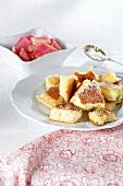 Kaiserschmarren ('Emperor's pancake', Austrian dessert) with rhubarb