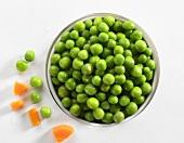 Peas in tin (overhead view)