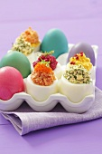 Coloured eggs and stuffed eggs for Easter