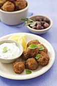Keftedes with minted yoghurt