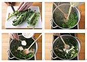 Preparing and cooking kale with onion