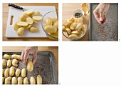 Preparing oven-baked potatoes with caraway seeds
