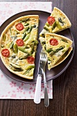 Asparagus tart with cocktail tomatoes