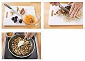 Making dried muesli with toasted nuts