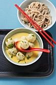 Tofu dumplings in curry cream