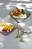 Grilled peach with yoghurt cream and lavender honey