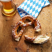 Pretzel, wheat beer and napkin
