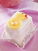 Petit four decorated with Easter chick