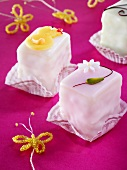 Petit fours with springtime decorations