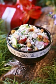 Chicken and vegetable salad for a picnic