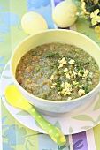 Vegetable soup with chopped egg