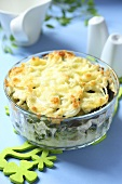 Cheese and vegetable bake in glass dish