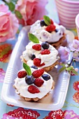 Wild strawberry and blueberry cream tarts
