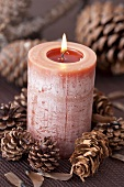 Candle surrounded by pine cones