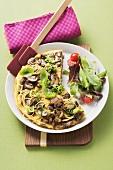 Pasta and mushroom omelette