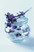 Lavender sugar in a jar