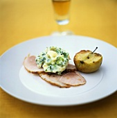 Smoked pork loin with spring onion mashed potato and apple