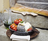Italian cheese, tomatoes, olive oil and white bread
