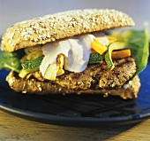 Wild boar burger with courgettes and mayonnaise