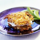 Potato rosti with soft cheese