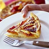 A piece of plum custard tart