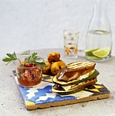 Layered courgette & aubergine with soft cheese & tomato relish