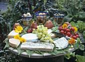 Im Garten angerichtete Käseplatte mit Obst und Gemüse