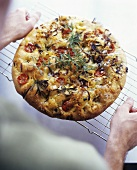 Focaccia toscana (Flatbread with tomatoes, rosemary & onion)