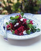 Beetroot risotto with watercress