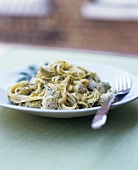 Narrow ribbon pasta with artichokes