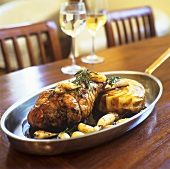 Leg of lamb with Pommes Sarladaise (fried potatoes with truffle)