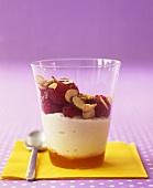 Layered dessert with honey, ricotta parfait & raspberries
