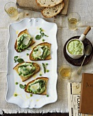 Crostini all'aretina (Toasted bread with pea & asparagus puree)