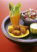 Falafel with dip and salad (Israel)