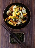 Grilled vegetables with sesame seeds and soy sauce