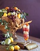 Ice cream dessert with fruit