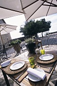 Terrace of a restaurant on the Cote d'Azur (France)