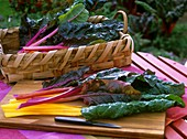 Chard with coloured stems on chopping board