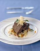 Boiled beef with horseradish sauce and bouillon potatoes