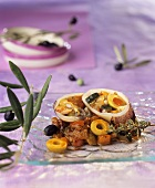 Stuffed squid with olives and mixed vegetables