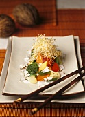 Vegetables with sprouts and coconut sauce