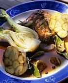 Quail with garlic and fennel