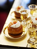 Savarin with cream and candied fruit