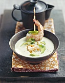 Avocado soup with physalis and shrimp tartare