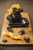 Pieces of chocolate with orange peel