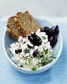 Greek herb cheese with black olives
