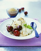 Rice pudding with almonds and cherries