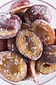 Frozen plums (close-up)