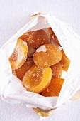 Frozen apricots in freezer bag