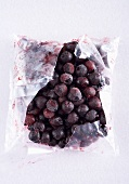 Frozen cherries in freezer bag